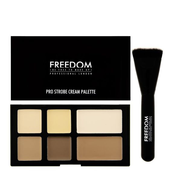 FREEDOM MAKEUP Pro Cream Strobe PALETA DO KONTUROWANIA + PĘDZEL