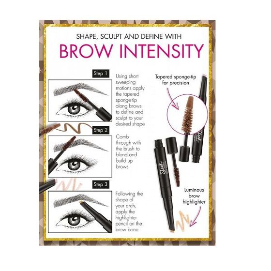 Sleek Makeup BROW INTENSITY Extra Dark Kredka rozświetlająca i żel do brwi